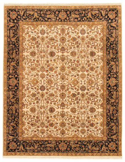 Bordered  Traditional Ivory Area rug 6x9 Indian Hand-knotted 335504
