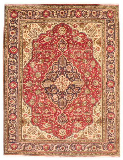 Bordered  Traditional Red Area rug 8x10 Persian Hand-knotted 366439