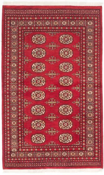 Traditional Red Area rug 4x6 Pakistani Hand-knotted 204968