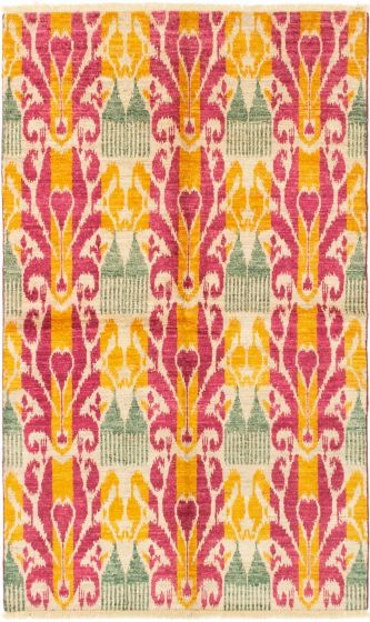 Casual  Transitional Pink Area rug 5x8 Indian Hand-knotted 280528