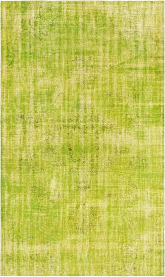 Overdyed  Transitional Green Area rug Unique Turkish Hand-knotted 295875