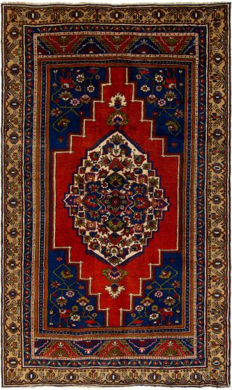 Bordered  Vintage Red Area rug 6x9 Turkish Hand-knotted 304531