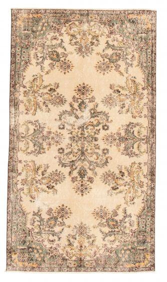 Bordered  Vintage Ivory Area rug 4x6 Turkish Hand-knotted 328110
