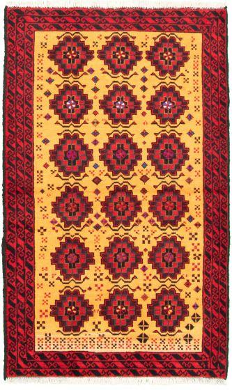 Bordered  Tribal Orange Area rug 3x5 Afghan Hand-knotted 333881
