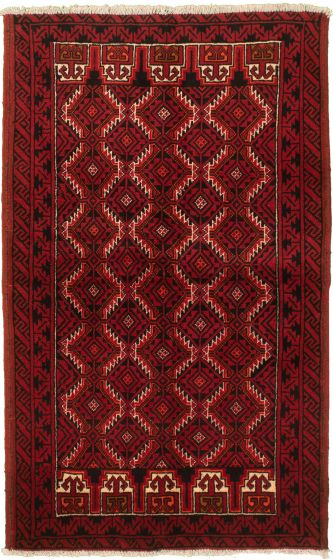Bordered  Tribal Red Area rug 3x5 Afghan Hand-knotted 334089