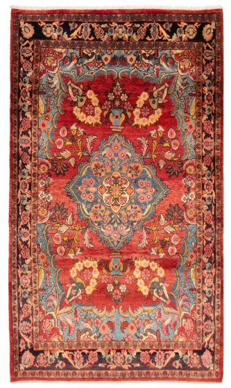 Bordered  Traditional Red Area rug 5x8 Persian Hand-knotted 358610