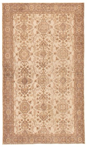 Transitional  Vintage Ivory Area rug 4x6 Turkish Hand-knotted 367510