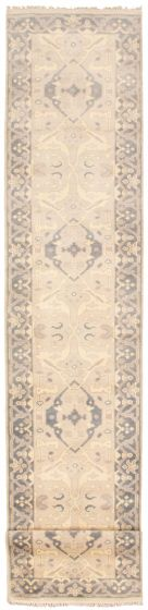 Bordered  Traditional Yellow Runner rug 20-ft-runner Indian Hand-knotted 340981