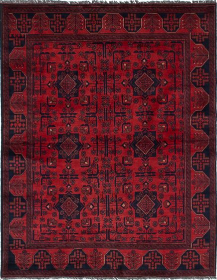 Traditional  Tribal Red Area rug 4x6 Afghan Hand-knotted 236196