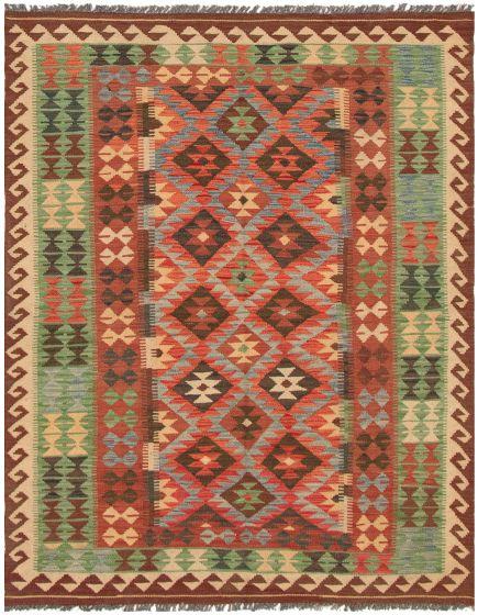 Bordered  Geometric Red Area rug 4x6 Turkish Flat-weave 297826