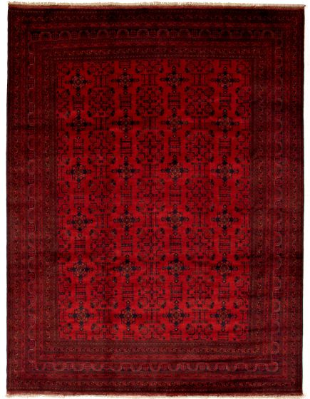 Bordered  Tribal Red Area rug 9x12 Afghan Hand-knotted 330030