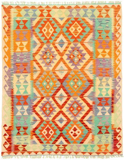 Bordered  Geometric Multi Area rug 4x6 Turkish Flat-weave 330214