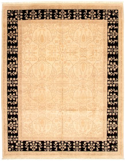 Bordered  Traditional Ivory Area rug 6x9 Pakistani Hand-knotted 330630