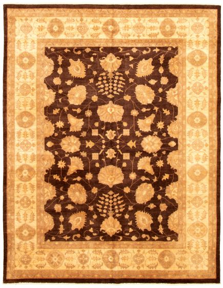 Bordered  Traditional Brown Area rug 6x9 Pakistani Hand-knotted 330643