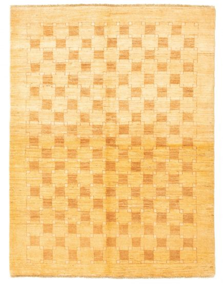 Bordered  Transitional Yellow Area rug 4x6 Pakistani Hand-knotted 331284