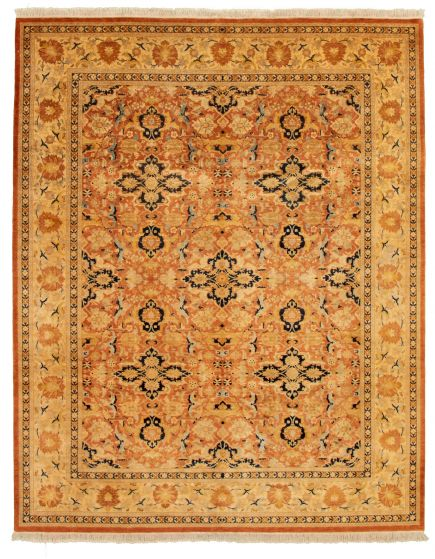 Bordered  Traditional Brown Area rug 6x9 Pakistani Hand-knotted 337572