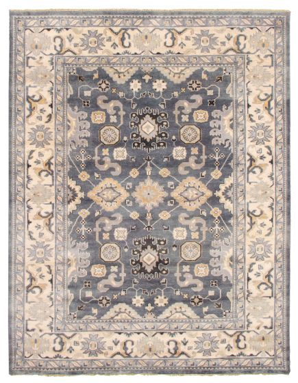 Bordered  Traditional Grey Area rug 9x12 Indian Hand-knotted 344913