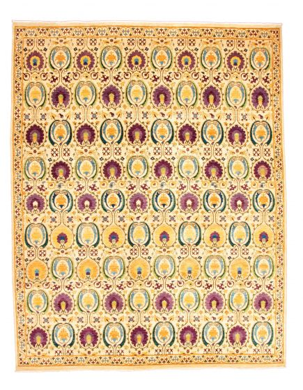 Casual  Transitional Ivory Area rug 12x15 Pakistani Hand-knotted 345148