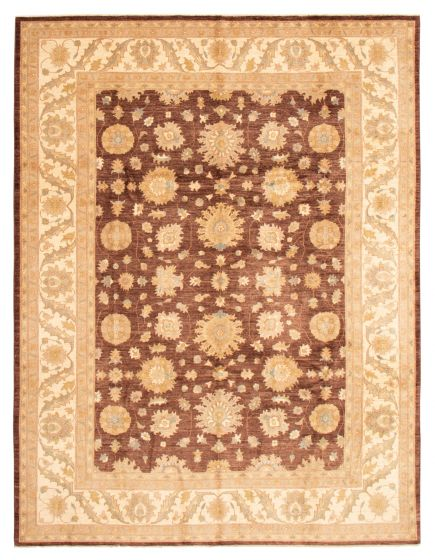 Bordered  Traditional Brown Area rug 9x12 Pakistani Hand-knotted 362954