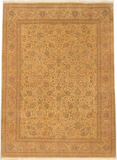 Traditional Yellow Area rug 9x12 Indian Hand-knotted 164699