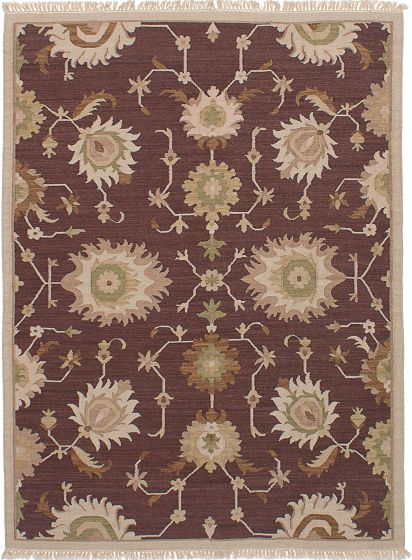 Transitional Brown Area rug 5x8 Turkish Flat-weave 228421