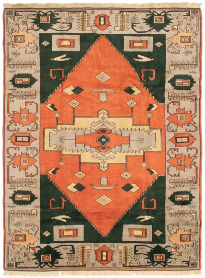 Bordered  Traditional Brown Area rug 5x8 Turkish Hand-knotted 293407