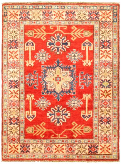 Bordered  Traditional Red Area rug 3x5 Afghan Hand-knotted 329863