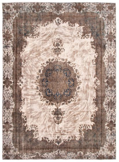 Bordered  Vintage Ivory Area rug 9x12 Turkish Hand-knotted 342189