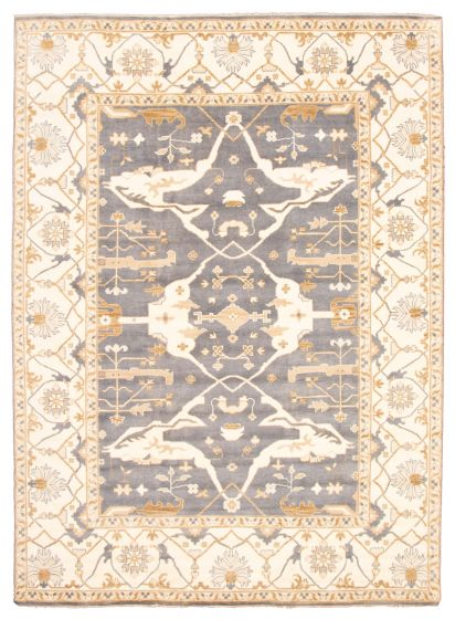 Bordered  Traditional Blue Area rug 10x14 Indian Hand-knotted 344867