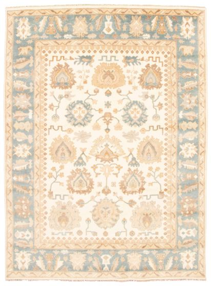Bordered  Traditional Ivory Area rug 9x12 Indian Hand-knotted 344948