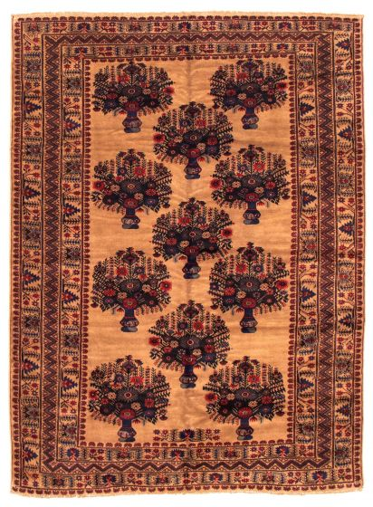 Bordered  Tribal Brown Area rug 6x9 Afghan Hand-knotted 348536