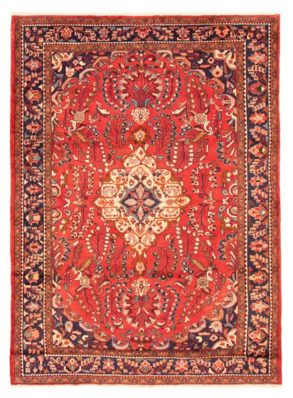 Bordered  Traditional Red Area rug 6x9 Persian Hand-knotted 366593