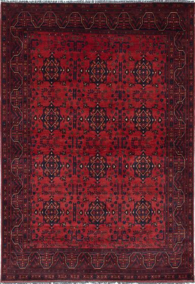 Traditional Red Area rug 5x8 Afghan Hand-knotted 222378