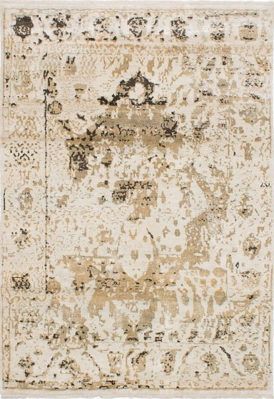 Transitional Ivory Area rug 5x8 Indian Hand-knotted 223675