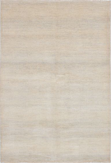 Transitional Yellow Area rug 5x8 Indian Hand-knotted 223709