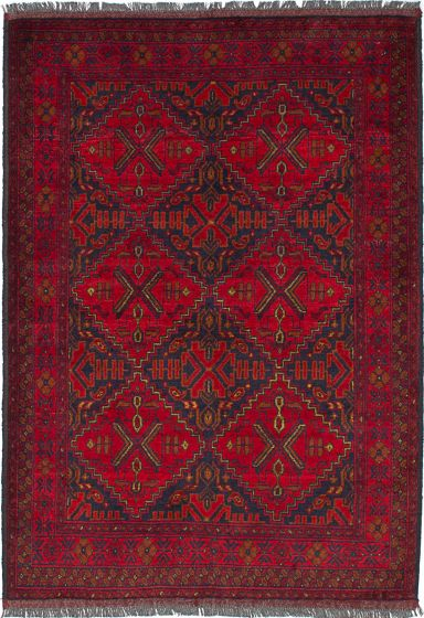 Traditional Red Area rug 3x5 Afghan Hand-knotted 236115
