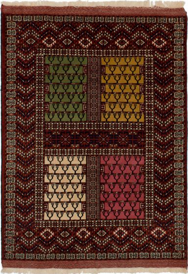 Bordered  Traditional Red Area rug 3x5 Russia Hand-knotted 273073