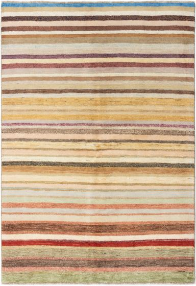Stripes  Traditional Ivory Area rug 5x8 Afghan Hand-knotted 280365