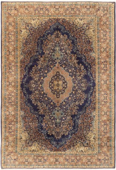 Bordered  Traditional Blue Area rug 6x9 Turkish Hand-knotted 281082