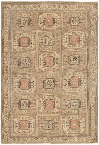 Bordered  Traditional Green Area rug 6x9 Turkish Hand-knotted 288245