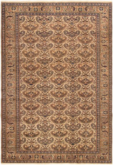 Bordered  Traditional Ivory Area rug 6x9 Turkish Hand-knotted 293543