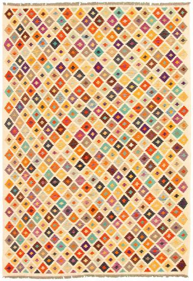 Flat-weaves & Kilims  Geometric Ivory Area rug 6x9 Turkish Flat-weave 329873