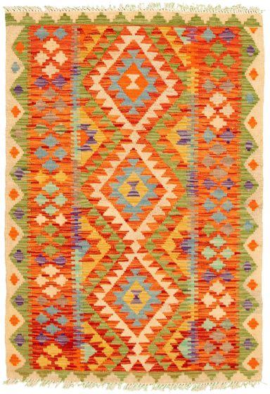 Bordered  Geometric Multi Area rug 3x5 Turkish Flat-weave 330237