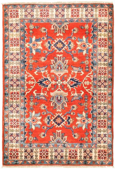 Bordered  Traditional Red Area rug 3x5 Afghan Hand-knotted 330263