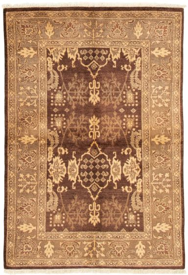 Bordered  Traditional Brown Area rug 3x5 Pakistani Hand-knotted 331468