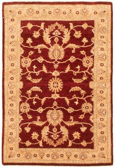 Bordered  Traditional Red Area rug 3x5 Afghan Hand-knotted 331519
