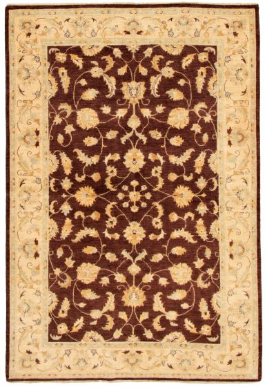 Bordered  Traditional Brown Area rug 5x8 Afghan Hand-knotted 331623