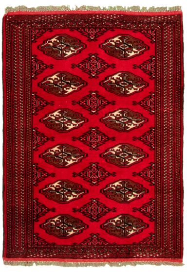 Bordered  Tribal Red Area rug 3x5 Turkmenistan Hand-knotted 332268