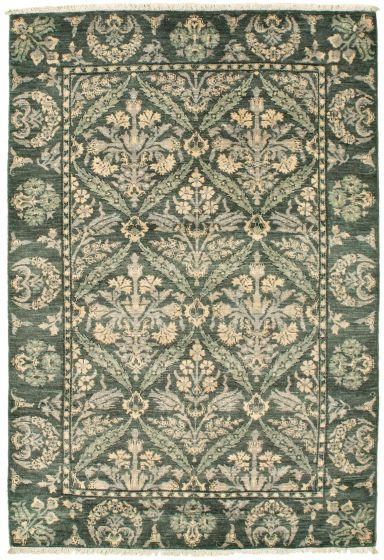 Bordered  Transitional Green Area rug 3x5 Pakistani Hand-knotted 342157
