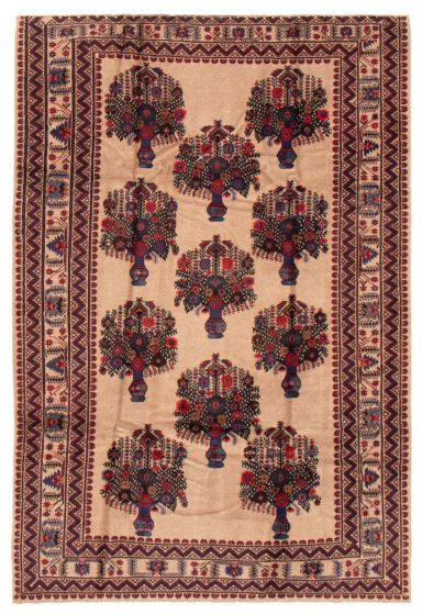 Bordered  Tribal Brown Area rug 5x8 Afghan Hand-knotted 358202